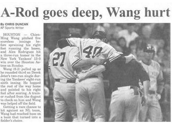 A-Rod goes deep, Wang hurt