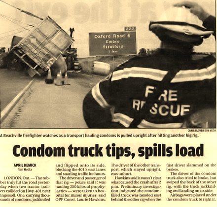 Condom truck tips, spills load