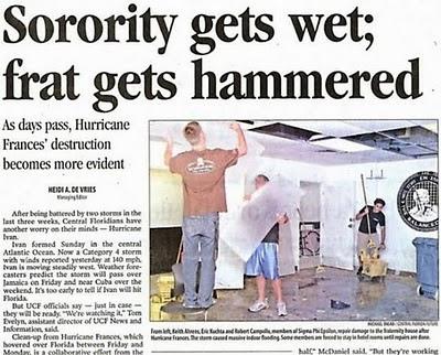 Sorority gets wet; frat gets hammered